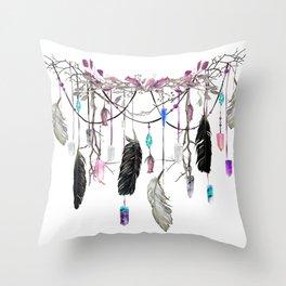Raven Feathers And Roses Crystal Spirit Gazer Throw Pillow