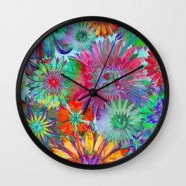 Rivalry of Flowers - multicolor Wall Clock