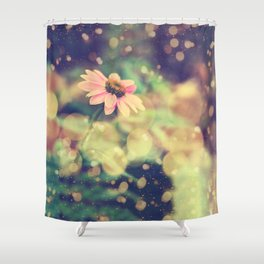 Romance. Golden dust pink daisy with bokeh. Shower Curtain