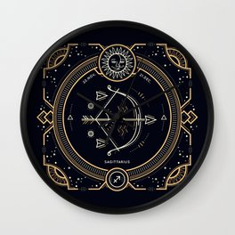 Sagittarius Zociac Golden White on Black Background Wall Clock