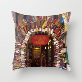 Books Store Front Doorway of Books and Novels Throw Pillow