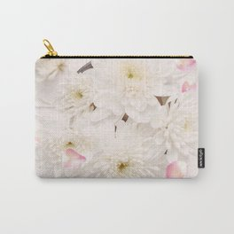 Soft Pink Flower Petals and White Flowers Carry-All Pouch