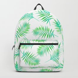 Palm Leaves, Tropical, Green, Plant, Minimal, Pattern, Modern art Backpack