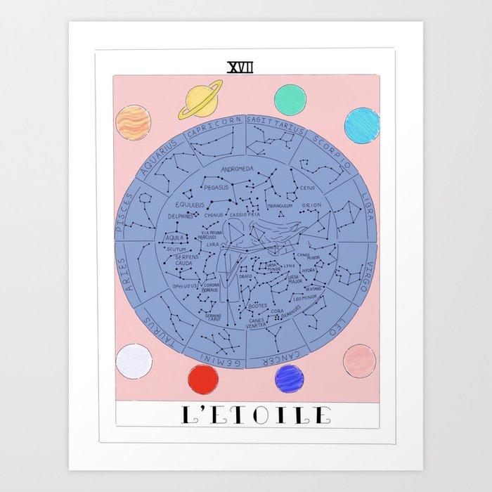 l etoile the star tarot card art print by virgodelics. Black Bedroom Furniture Sets. Home Design Ideas