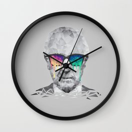 Albert Hofmann - Psychedelic Polygon Low Poly Portrait Wall Clock
