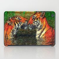 tigers iPad Cases featuring Kissing tigers by chauloom