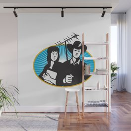 cowboy and girl holding aerial outdoor antennae Wall Mural