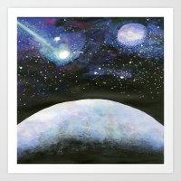Galaxy & Planet Art Print
