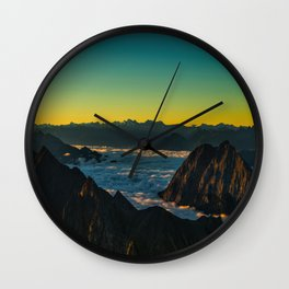 Yellow & Teal Turquoise Ombre Sunrise over Mountain Range Wall Clock
