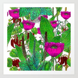 Vintage Pepper + Flower Garden Art Print