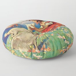 12,000pixel-500dpi - Jessie Willcox Smith - Heidi, Girl Of The Alps - Digital Remastered Edition Floor Pillow