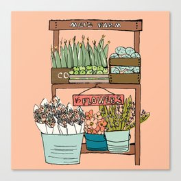 Mei's Farm Stand on Salmon Pink Canvas Print