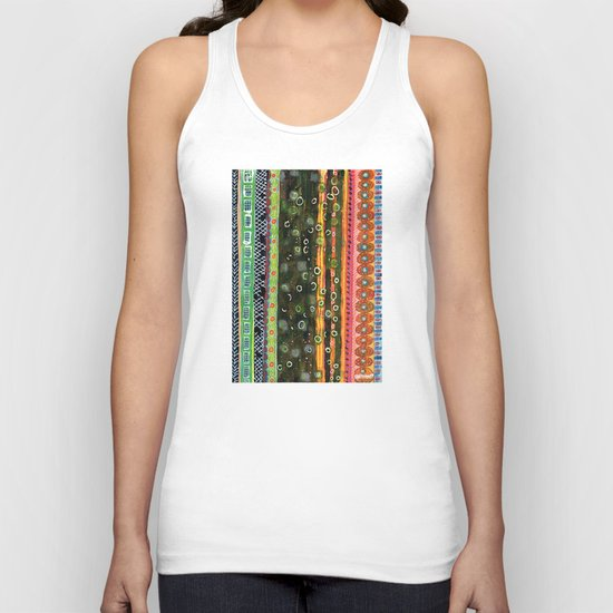 Absorbed Rings with Vertical Stripes Pattern Unisex Tank Top