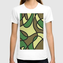 Camo Curves - Abstract, camouflage coloured pattern T-shirt