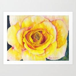 Yellow Rose Watercolor Art Print