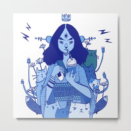 the almighty internet god - Blue Metal Print