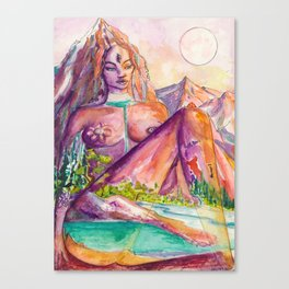 One With Nature - Mountain Goddess Watercolor Canvas Print