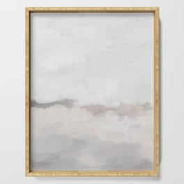Neutral White Beige Gray Sandy Beach Ocean Gray Clouds Abstract Nature Painting Art Print Wall Decor  Serving Tray