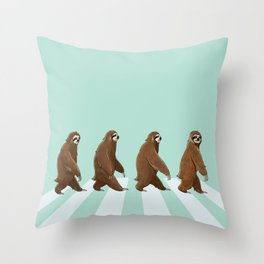 Sloth The Abbey Road in Green Throw Pillow