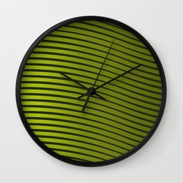 Green Horizontal Lined Waves Wall Clock