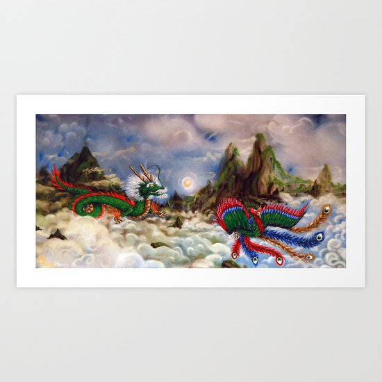 Dragon and Pheonix Art Print