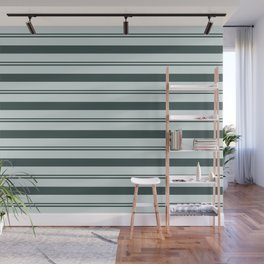 Night Watch Color of the Year Thick and Thin Horizontal Stripes on Cave Pearl Light Mint Green Wall Mural