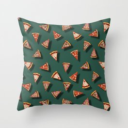 Pizza Party Pattern - Floating Pizza Slices on Teal Throw Pillow