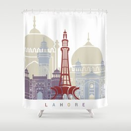 Lahore skyline poster Shower Curtain