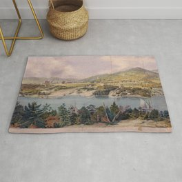 Panorama of West Point from Constitution Island by John Rubens Smith (c 1820) Rug