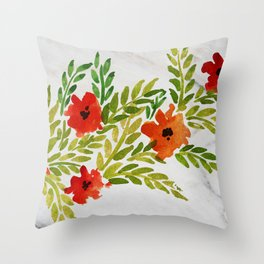 Vintage Poppies on Marble Background Throw Pillow