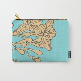 Flowers on Turquoise Carry-All Pouch