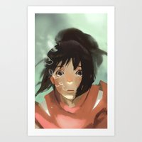 chihiro Art Prints featuring Chihiro by MMCoconut
