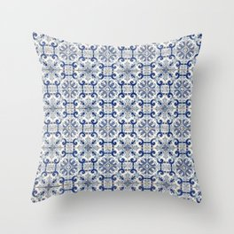Portuguese tiles pattern blue Throw Pillow