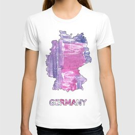 Germany map outline African violet watercolor T-shirt