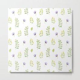 Modern lavender green hand painted watercolor floral Metal Print