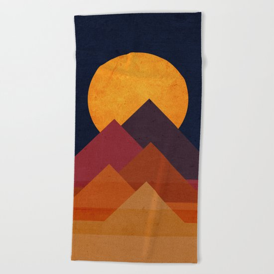 Full moon and pyramid Beach Towel