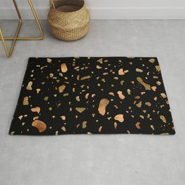 Black terrazzo with gold and copper spots Rug