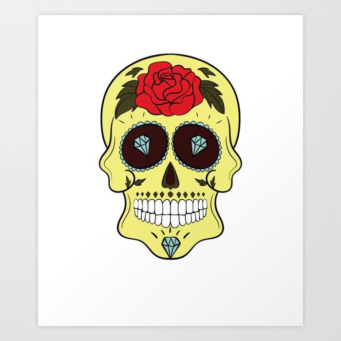 MARDI GRA SUGAR SKULL Print COOL TATTOO SUGAR SKULL Product Art Print By  Dorseyco Society6