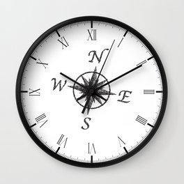 Stipple Compass Face Wall Clock