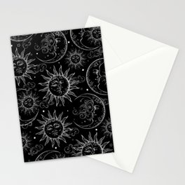 Black Magic Celestial Sun Moon Stars Stationery Cards