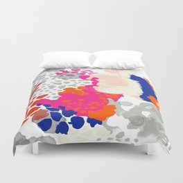 Mica - Abstract painting in modern fresh colors navy, orange, pink, cream, white, and gold Duvet Cover