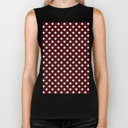 Small Polka Dots - White on Bulgarian Rose Red Biker Tank