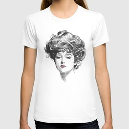 Gibson Girl with Green Eyes and Pink Lips T-shirt