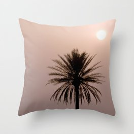 Misty Sunrise with Palm Tree Throw Pillow