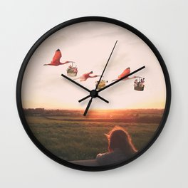 Dreaming of Floral Bird Deliveries Wall Clock