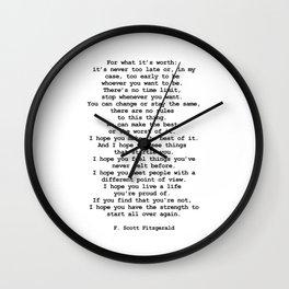 For what it's worth by F Scott Fitzgerald #minimalism #poem Wall Clock