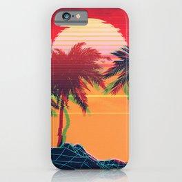 Vaporwave landscape with rocks and palms iPhone Case