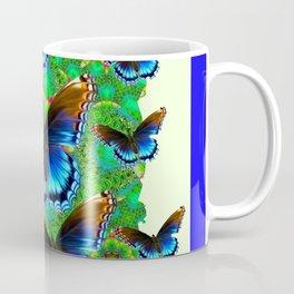 BLUE-BROWN BUTTERFLY GREEN ART Coffee Mug