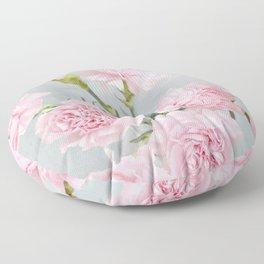 Elegant modern blush pink green carnations floral Floor Pillow
