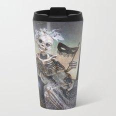 Catrina in Waiting Skeleton Large Format Metal Travel Mug